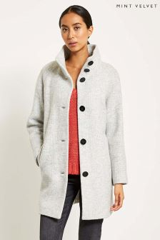 Mint Velvet Grey Funnel Neck Textured Coat