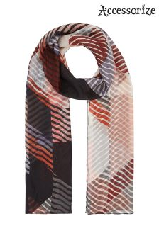Accessorize Orange Saffron Stripe Silk Classic Scarf