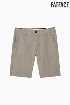 FatFace Grey Linen Cotton Flat Front Short