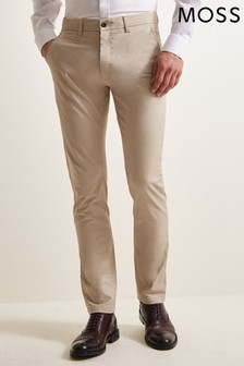 Moss 1851 Tailored Fit Stone Stretch Chinos