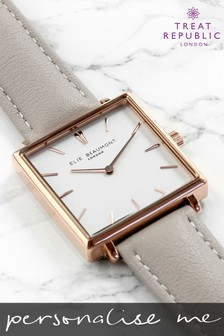 Personalised Women's Grey Leather Square Watch by Treat Republic