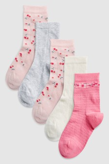 Pretty Floral Socks Five Pack (Older)