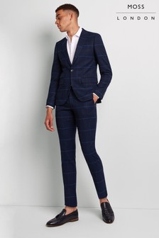Moss London Skinny Fit Large Blue Check Trouser