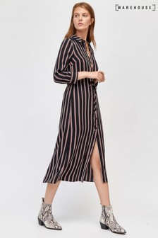 Warehouse Black Stripe Midi Shirt Dress