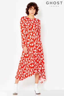 Ghost London Red Printed Annie Dress