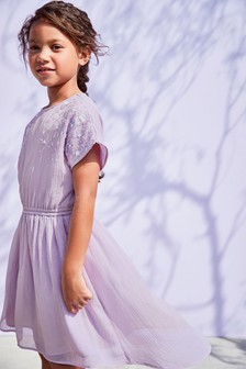 Embellished Dippy Hem Dress (3-16yrs)