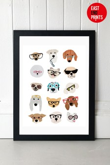 Dogs in Glasses by Hanna Melin Framed Print