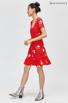 Warehouse Red Daisy Button Through Dress