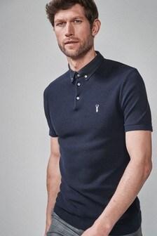 Strick-Poloshirt mit Stoffkragen