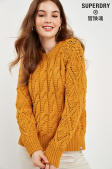 Superdry Yellow Cable Knit Jumper