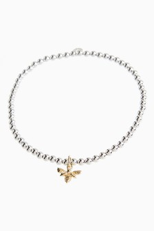 18 Carat Gold Plated Bee Charm Beady Bracelet