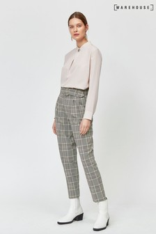 Warehouse Grey Check Peg Leg Trouser