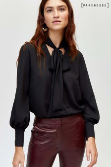 Warehouse Black Pussy-Bow Blouse