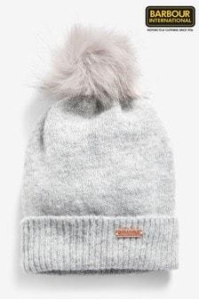 Barbour® International Grey Sparkle Pom Pom Beanie Hat