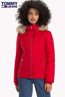 Tommy Jeans Red Hooded Down Jacket