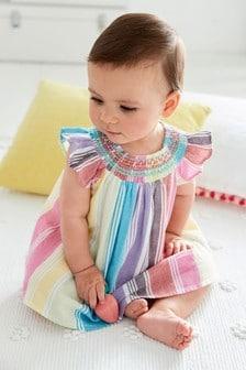 Marszczona gumką sukienka w paski (0m-cy-2lata)