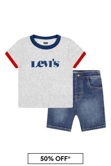 Levis Kidswear Baby Boys Grey Cotton Top And Bottoms Set