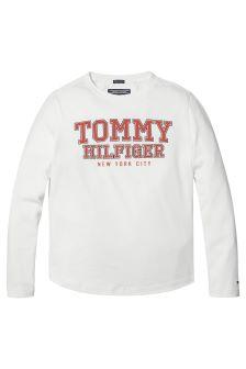 Tommy Hilfiger White Varsity Logo Tee