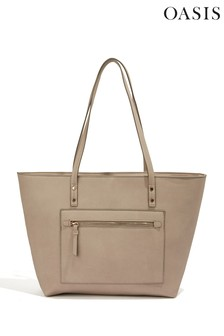 Oasis Grey Zadie Zip Top Shopper Bag
