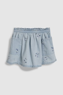 Floral Embroidered Denim Skirt (3mths-7yrs)