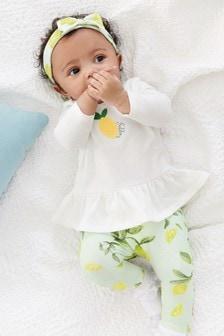 Conjunto de camiseta, leggings y diadema con limón (0 meses-2 años)