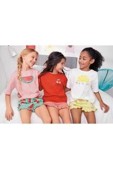 Набор из трех пижам с шортами и принтом фруктов (3-16 лет)