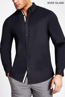 River Island Navy Regular Fit Oxford Shirt