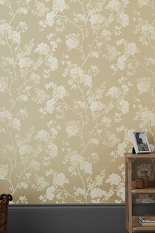 Paste The Wall Gold Floral Wallpaper
