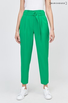 Warehouse Green Crepe Belted Cigarette Trouser