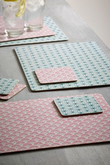 Set of 4 Geo Floral Placemats And Coasters