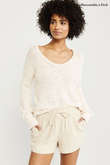 Abercrombie & Fitch Cream Scoop Knit Jumper