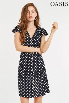 Oasis Blue Spot Button Skater Dress
