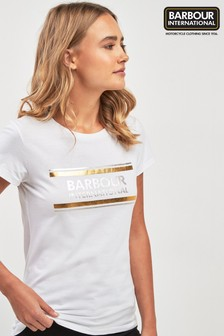 Barbour® International White Metallic Logo T-Shirt