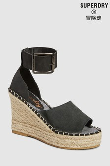 Superdry Black Wedge Espadrille