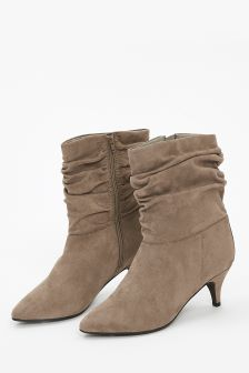 Evans Brown/Tan Extra Wide Fit Ruched Kitten Heel Ankle Boot