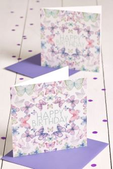 Set Of 2 Butterfly Birthday Cards
