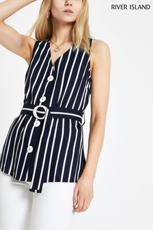 River Island Navy Stripe Belted Top