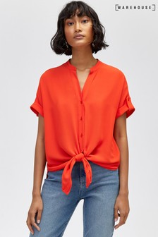 Warehouse Red Short Sleeve Tie Front Blouse