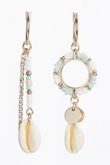 Beaded Hoop Drop Mismatch Shell Earrings