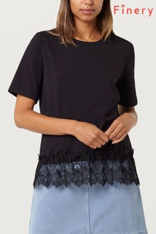 Finery Black Ives Lace Trim T-Shirt