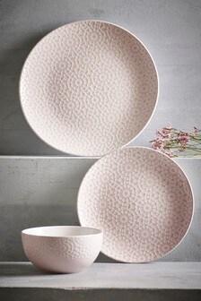 Essgeschirr mit geprägtem, geometrischem Muster, 12-teilig