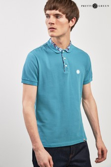 Pretty Green Light Blue Paisley Collar Poloshirt