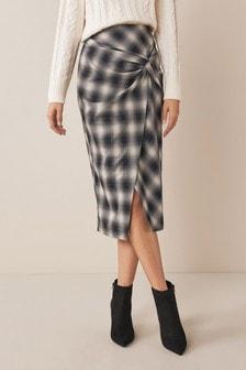 Navy Check Twist Midi Skirt