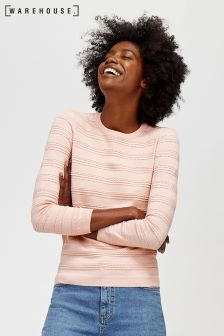Różowy sweter z ozdobnym szwem Warehouse Pretty