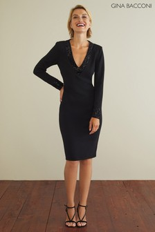 Gina Bacconi Black Olympia Crepe Dress