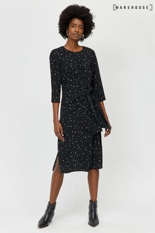 Warehouse Black Estella Star Print Dress