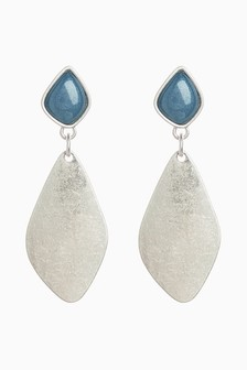 Blue Stone Detail Drop Earrings