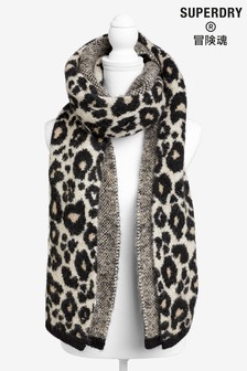 Superdry豹紋印花圍巾