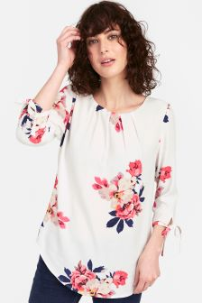 Joules Cream Floral Trisha Tie Sleeve Shell Top