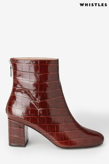 Whistles Burgundy Bartley Ankle Boots